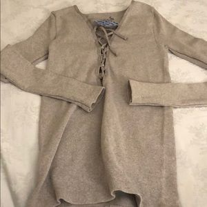 Free people NWT size XS gray long sleeve tie up